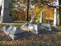 Cemetery. Old historic cemetery with colorful autumn trees Royalty Free Stock Photo