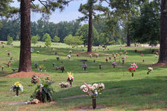Cemetery. Grassy hill in cemetery Royalty Free Stock Photos