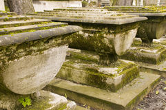 Cemetery with aged tombs Stock Images