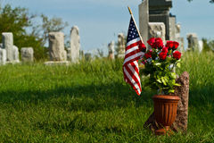 Cemetery and American Flag Royalty Free Stock Photos