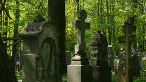 Cemetery ancient monuments stock video footage