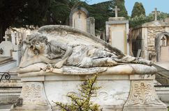 A cemetery angel figure. Syracuse, Sicily Royalty Free Stock Photo