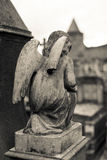 Cemetery angel statue. Medieval cemetery angel statue. Carcassonne city stock images