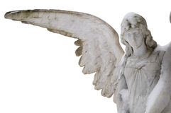 Cemetery angel in winter. A carved marble cemetery memorial Angel, in winter.  Some snow clings to the head and shoulders.  Isolated on white Royalty Free Stock Images