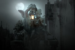 Cemetery angels. At night from an old European cemetery Royalty Free Stock Image