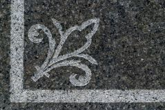 Cemetery Art 4358. Cemetery designs, borders, details, and graphics from grave stones and memorials honoring family members stock image