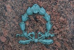 Cemetery Art 4318. Cemetery designs, borders, details, and graphics from grave stones and memorials honoring family members stock photo