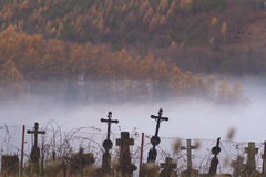 Cemetery In Autumn Inversion Stock Photos