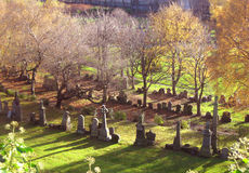 Cemetery in autumn Stock Images