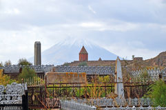 The cemetery on the background of Mount Ararat . Armenia. The cemetery on the background of Mount Ararat and the Monastery Khor Virap. Armenia Stock Photo