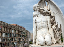 Cemetery in Barcelona. Kiss of death statue at Poblenou Cemetery in Barcelona, Spain Royalty Free Stock Photography