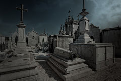 Cemetery blue dawn Royalty Free Stock Image