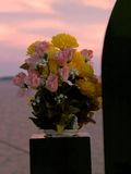 Cemetery bouquet. At sunset Royalty Free Stock Photos