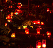Cemetery candles stock images