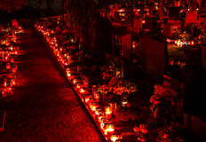 Cemetery candles Royalty Free Stock Photography