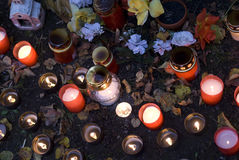 Cemetery candles Royalty Free Stock Images