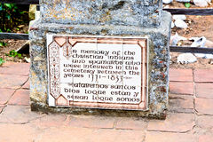 Cemetery of Carmel Mission with graves of indians decorated with Stock Photography