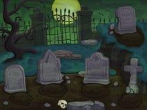 Cemetery cartoon background Royalty Free Stock Photo