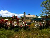 Cemetery and Catholic church on tropical Lifou Island New Caledonia Royalty Free Stock Image