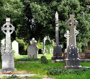 Cemetery With Celtic Cross Markers In Ireland Stock Photo