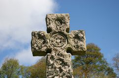 Cemetery Celtic cross. A Celtic cross on a cemetery in Roslin, Scotland Royalty Free Stock Photo