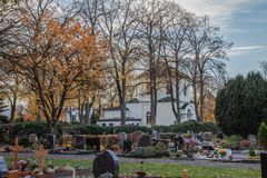 the cemetery of Neuwied Heddesdorf, stock photography
