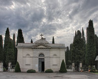 Cemetery chapel in Koper in Slovenia on cloudy day Royalty Free Stock Photography