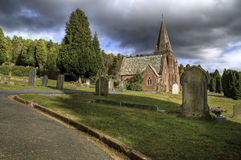 Cemetery and church. Stock Image