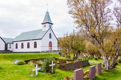 Cemetery and church in Iceland Stock Images