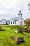 Cemetery and church in Iceland Stock Photo