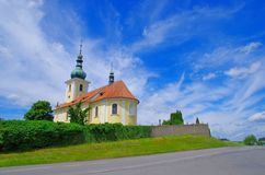 Cemetery Church in Sedlcany, Czech Republic. Cemetery Church in town called Sedlcany, Czech Republic Royalty Free Stock Photography