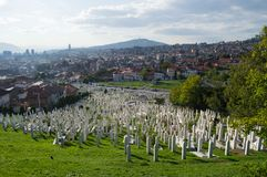 Cemetery and Cityscape in Sarajevo, Bosnia and Herzegovina Royalty Free Stock Image