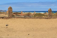 Cemetery on the Cofete beach, Fuerteventura- Canary Islands. Big cemetery on the Cofete beach, Fuerteventura- Canary Islands Stock Photo