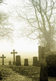 Cemetery in countryside. Scenic view of gravestones in cemetery, countryside scene royalty free stock images