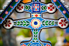 Cemetery cross art. Painted cross in happy cemetery Sapanta, Romania. Art and traditional culture stock images