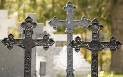 Cemetery with crosses Royalty Free Stock Photos