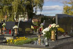 Cemetery, dans of All Saints, All Souls` Day. Graveyard in Croatia. All Saints` Day.n royalty free stock photos