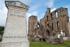 Cemetery at the Elgin Cathedral. The Elgin Cathedral with cemetery in Scotland Stock Image