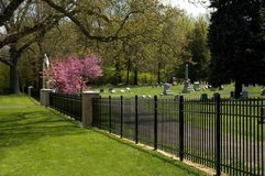 Cemetery Entrance. Cemetery fence protecting the grounds Stock Images