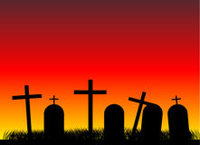 Cemetery at evening. Silhouettes of black crosses on a cemetery. Evening Stock Image