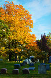 Cemetery in Fall. A Cemetery in the fall with brilliant autumn colors Oakhill Cemetery - Lake Geneva, Wisconsin Stock Images