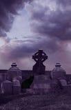 Cemetery Familiar. A cat in the cemetery in a dark purple setting Stock Photos