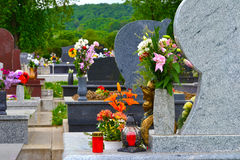 Cemetery with flowers Stock Images