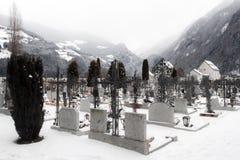 Cemetery in fog Stock Image