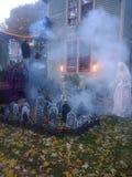 Cemetery fog stock photos