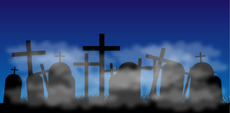 Cemetery with fog at night. Silhouettes of black crosses on a cemetery with fog. Night Stock Photos