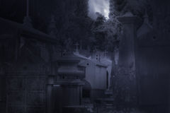 Cemetery in a foggy full moon night Royalty Free Stock Photography
