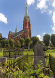 Cemetery in front of the Saint Johannes Church, Stockholm. Stock Image