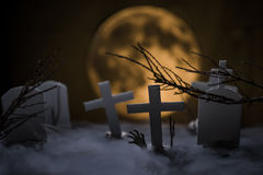 Cemetery and fullmoon Stock Photography