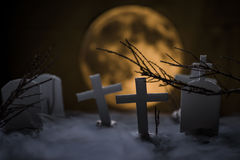 Cemetery and fullmoon Royalty Free Stock Photo